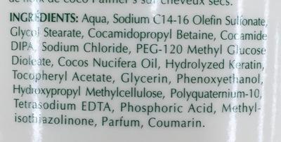 Shampooing soin formule à l'huile de noix de coco - Ingrédients