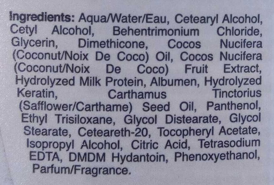 Coconut milk conditioner - Ingredients