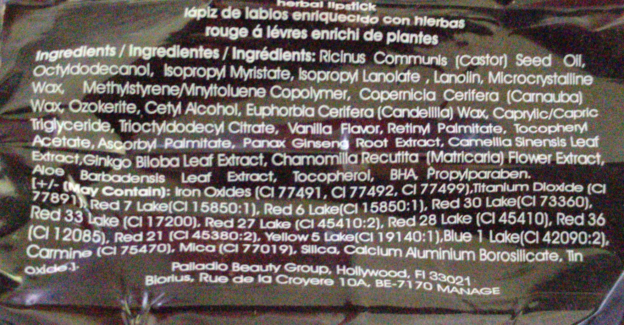 Herbal Lipstick Pinky - Ingredients