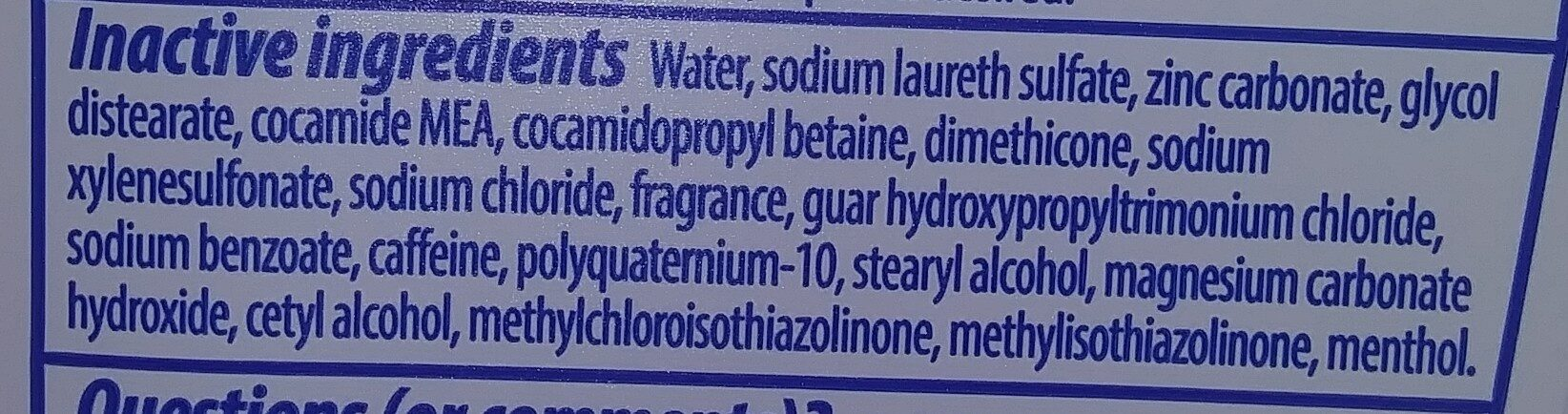 head and shoulder's shampoo - Ingredients - en