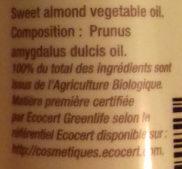 Huile végétale Amande douce - Ingrédients