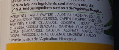 Déodorant à bille aloe vera bio fleur de tiaré - Ingrédients - fr