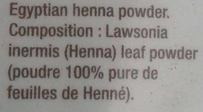 Henné d'Egypte - Ingredients