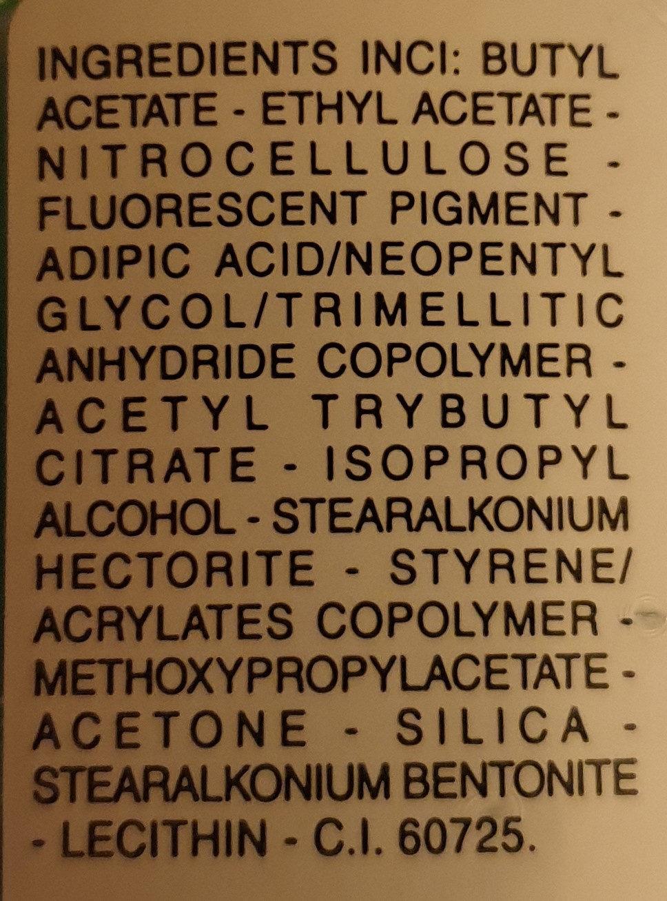 Neon nailpolish for artificial nails - Ingredients - de