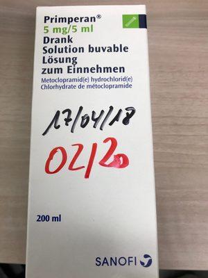 Primperan 5mg/5ml - Produit