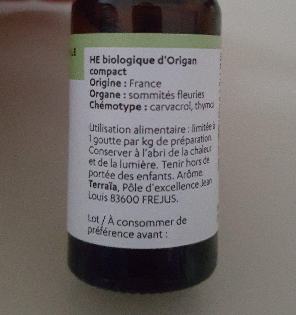 Huile essentielle Origan Compact - Ingredients