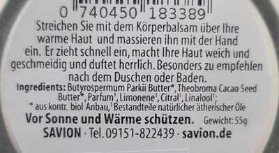 Savion Körperbalsam Rosmarin Zitrone - Ingredients - de