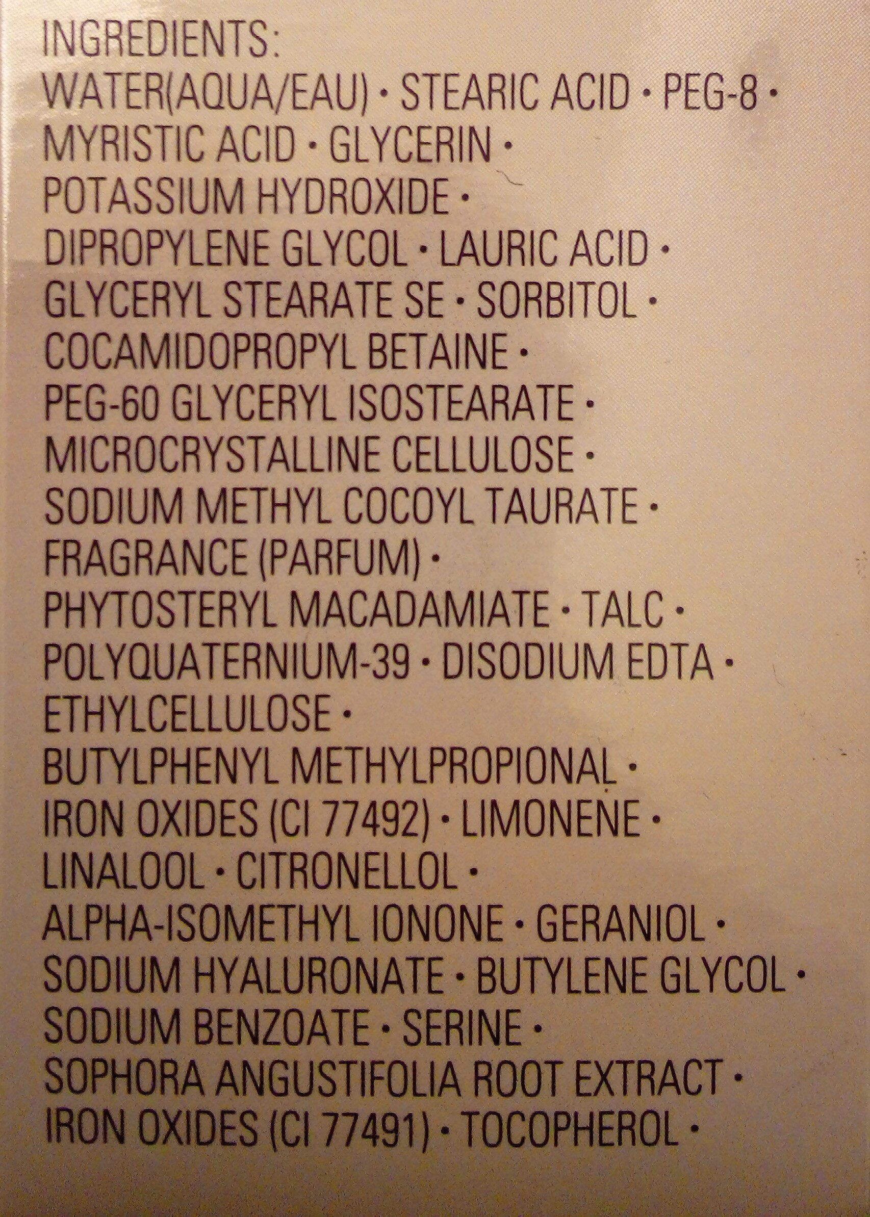 Benefiance mousse nettoyante confort absolu - Ingredients - fr