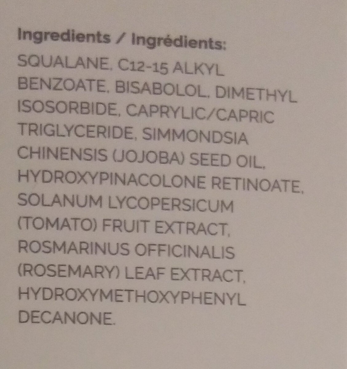 Granactive Retinoid 5% in Squalane - Ingredients - en