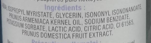 Démaquillant yeux waterproof à l'extrait de prune - Ingrédients