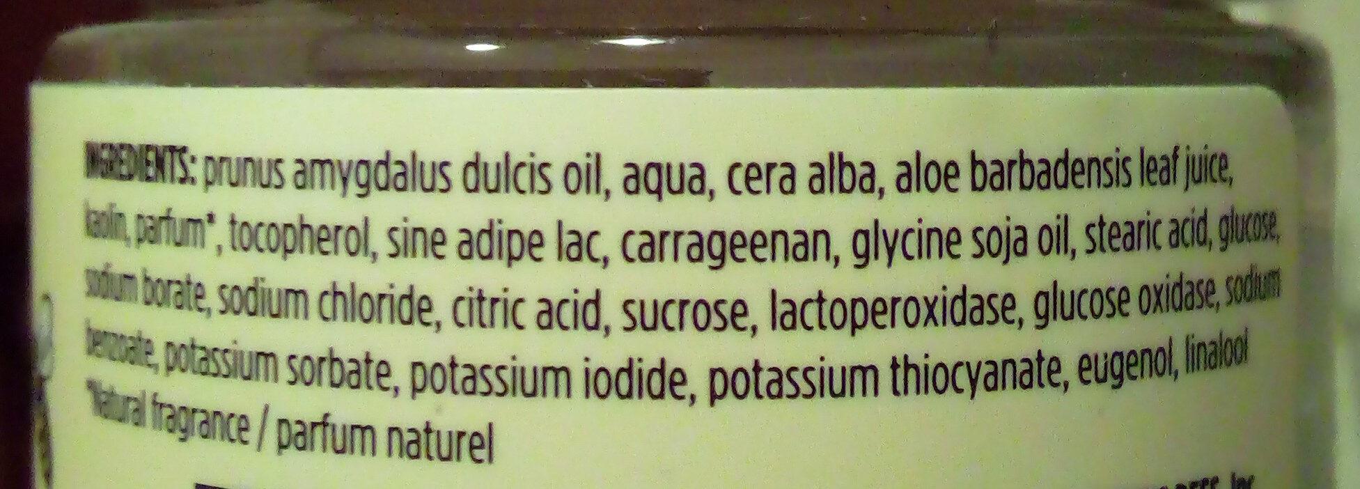 Crème pour les mains à l'huile d'amande et au lait - Ingrédients - fr