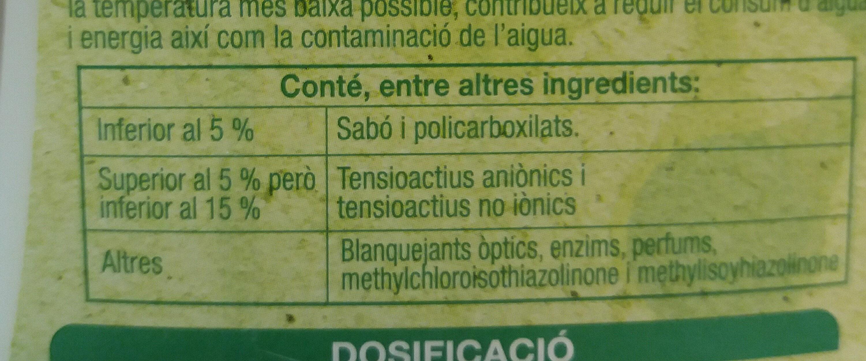 detergent universal amb sabó vegetal - Ingredients - ca