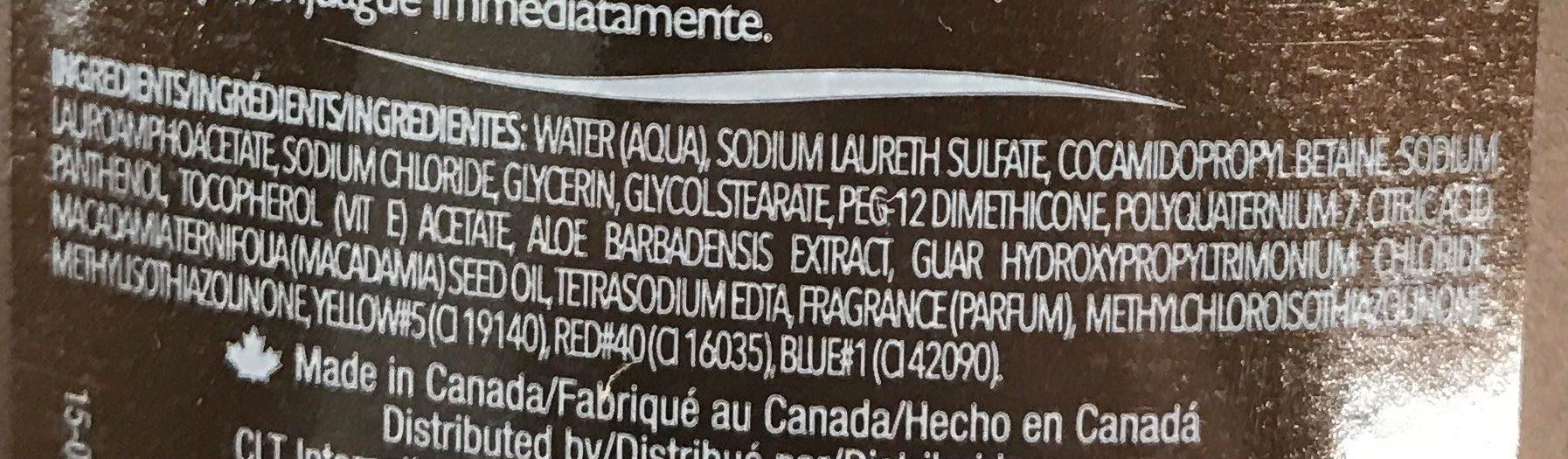 Nettoyant Corporel Hydratant Huile de Macadamia - Ingredients - fr