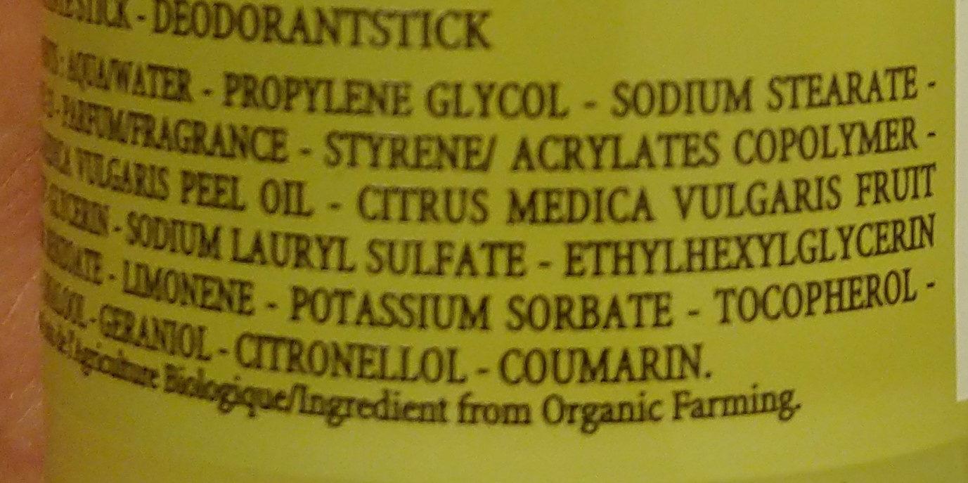 Cedrat stick deodorant - Ingredients