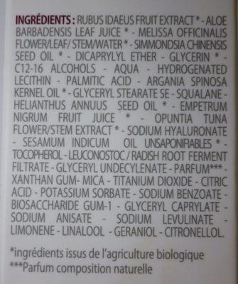 Crème Légère Hydratante Eté et Temps Chauds - Ingredients