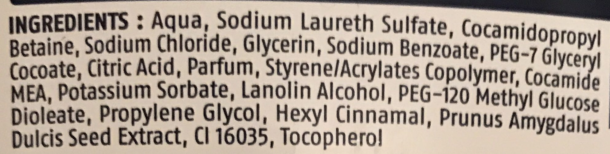 Savon liquide amande - Ingredients