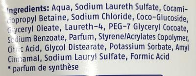 Cream & Care Bain Moussant - Ingredients