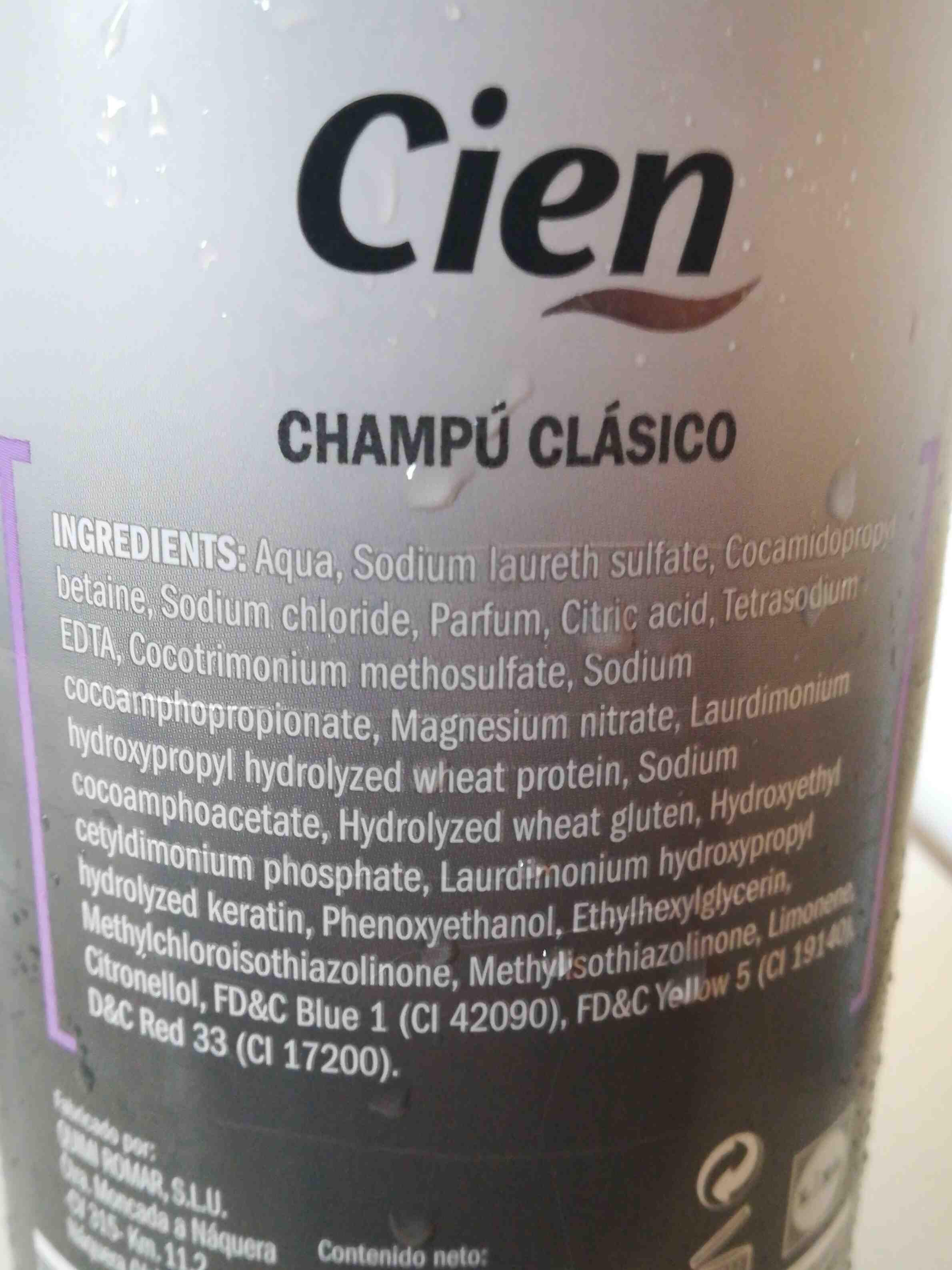 Champu clasico cien - Ingrédients - en