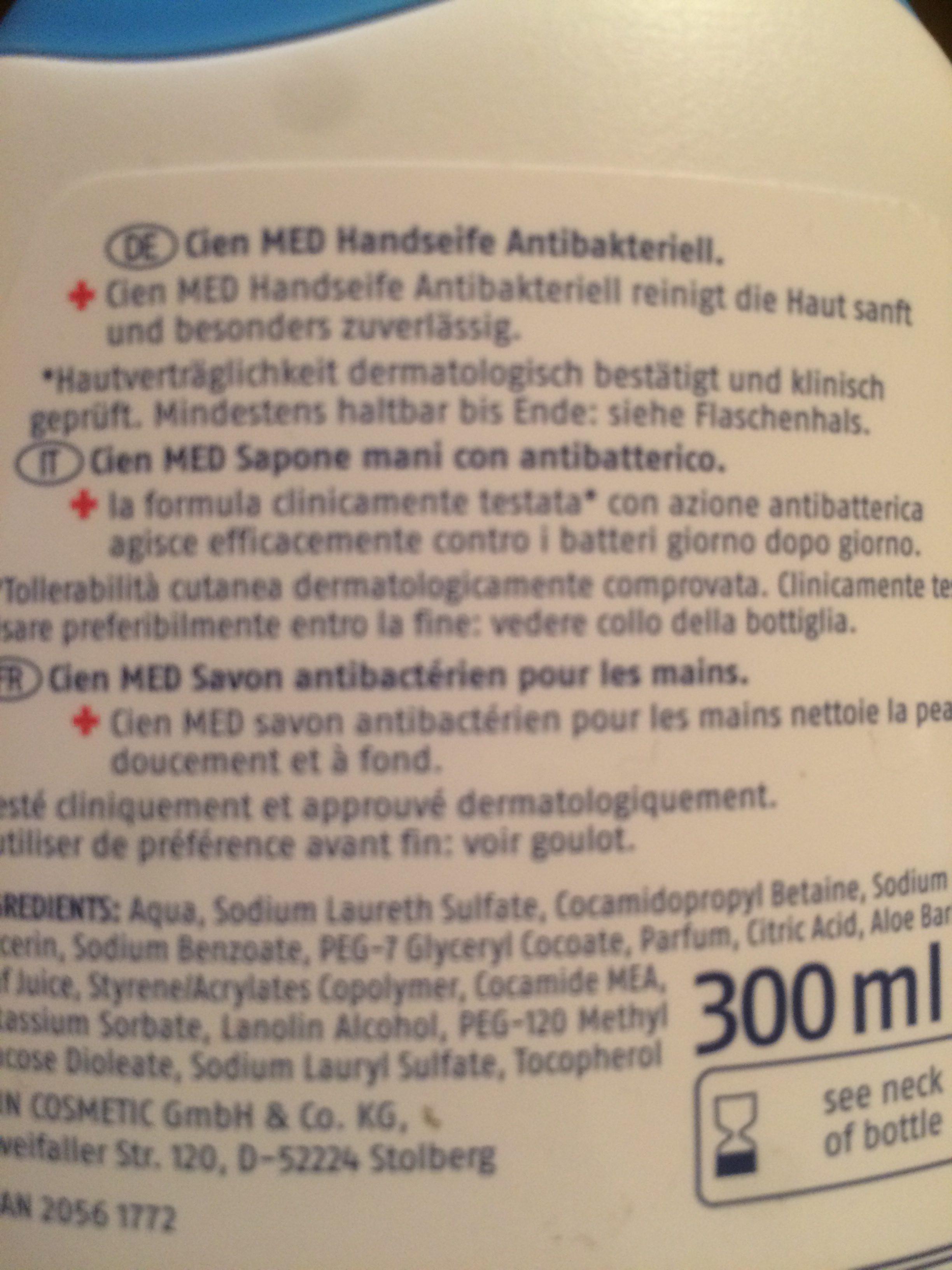 Cien Med Handseife Antibakteriell - Ingredients - fr