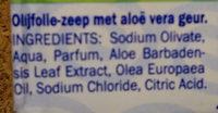 Olijfolie-zeep met aloe vera geur - Ingredients