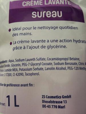 crème lavante sureau - Ingredients