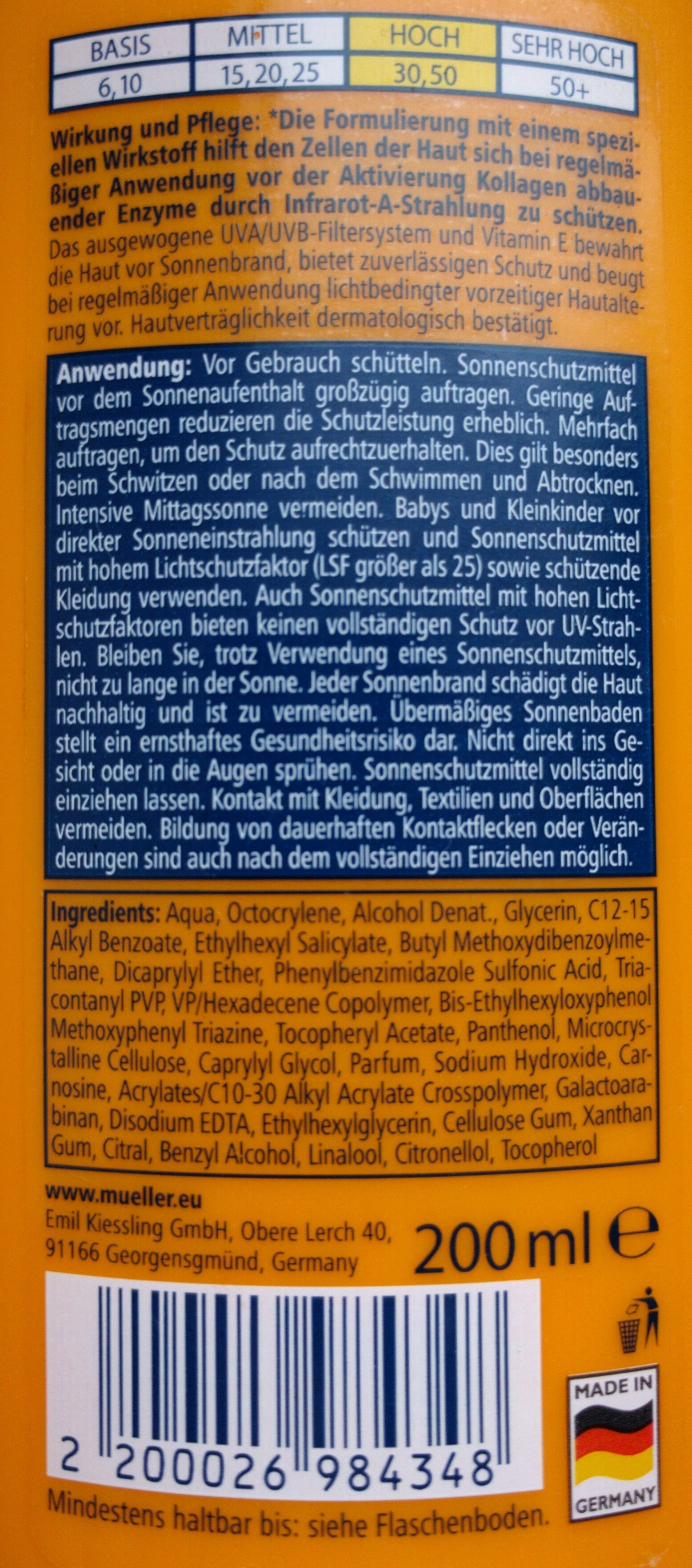 Sonnenspray 30 hoch - Ingredients - de