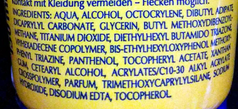 Sonnencreme Sport extra wasserfest - Ingredients