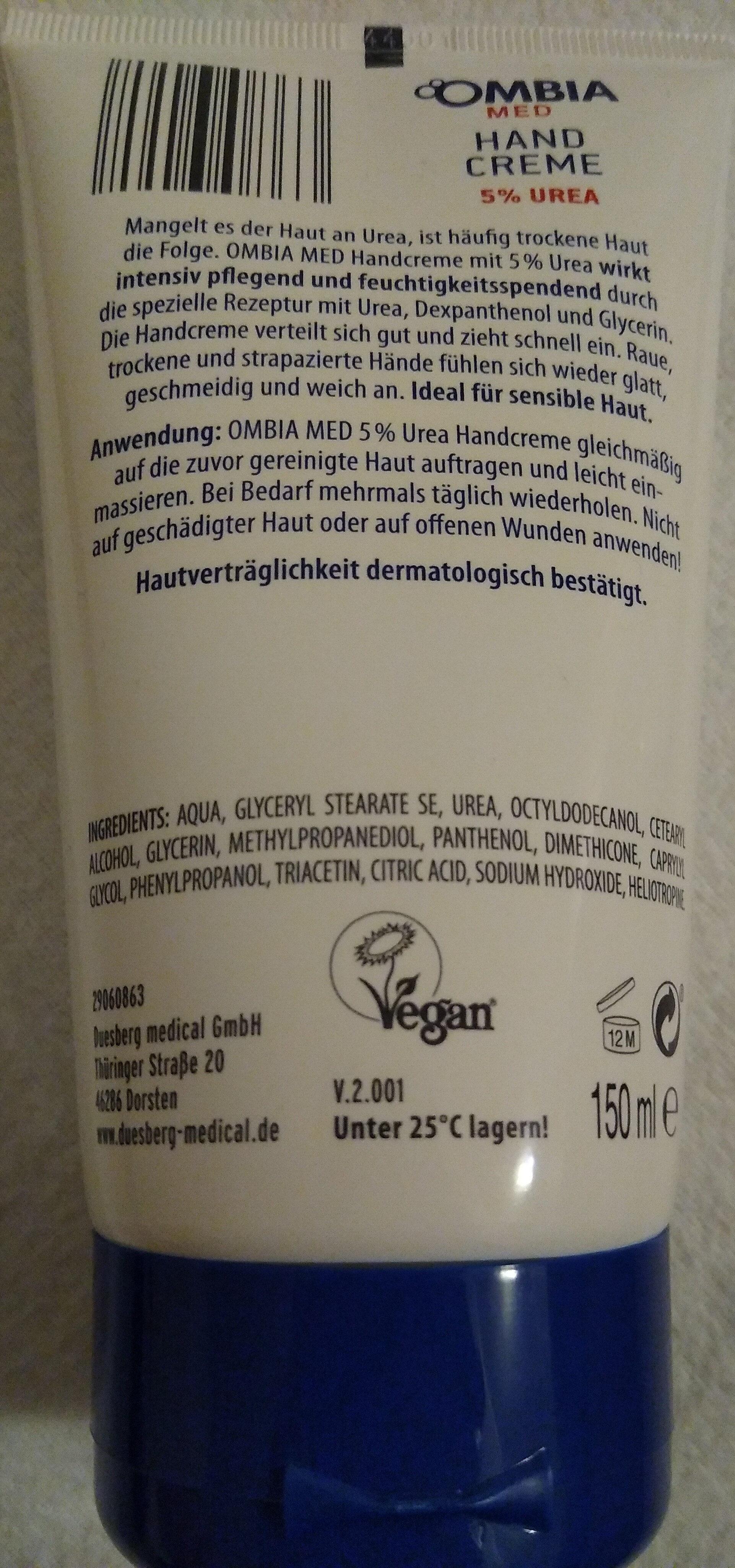 Ombia Med Hand Creme 5% Urea - Product - en