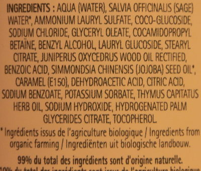 Shampooing à l'huile de Jojoba - Ingredients
