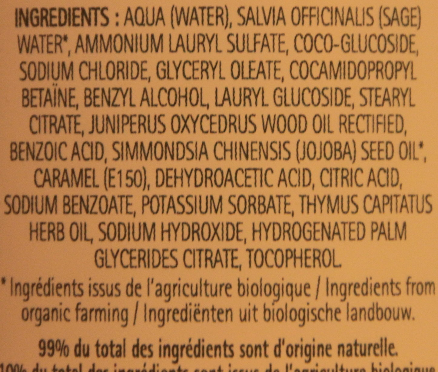 Shampooing à l'huile de Jojoba - Ingredients