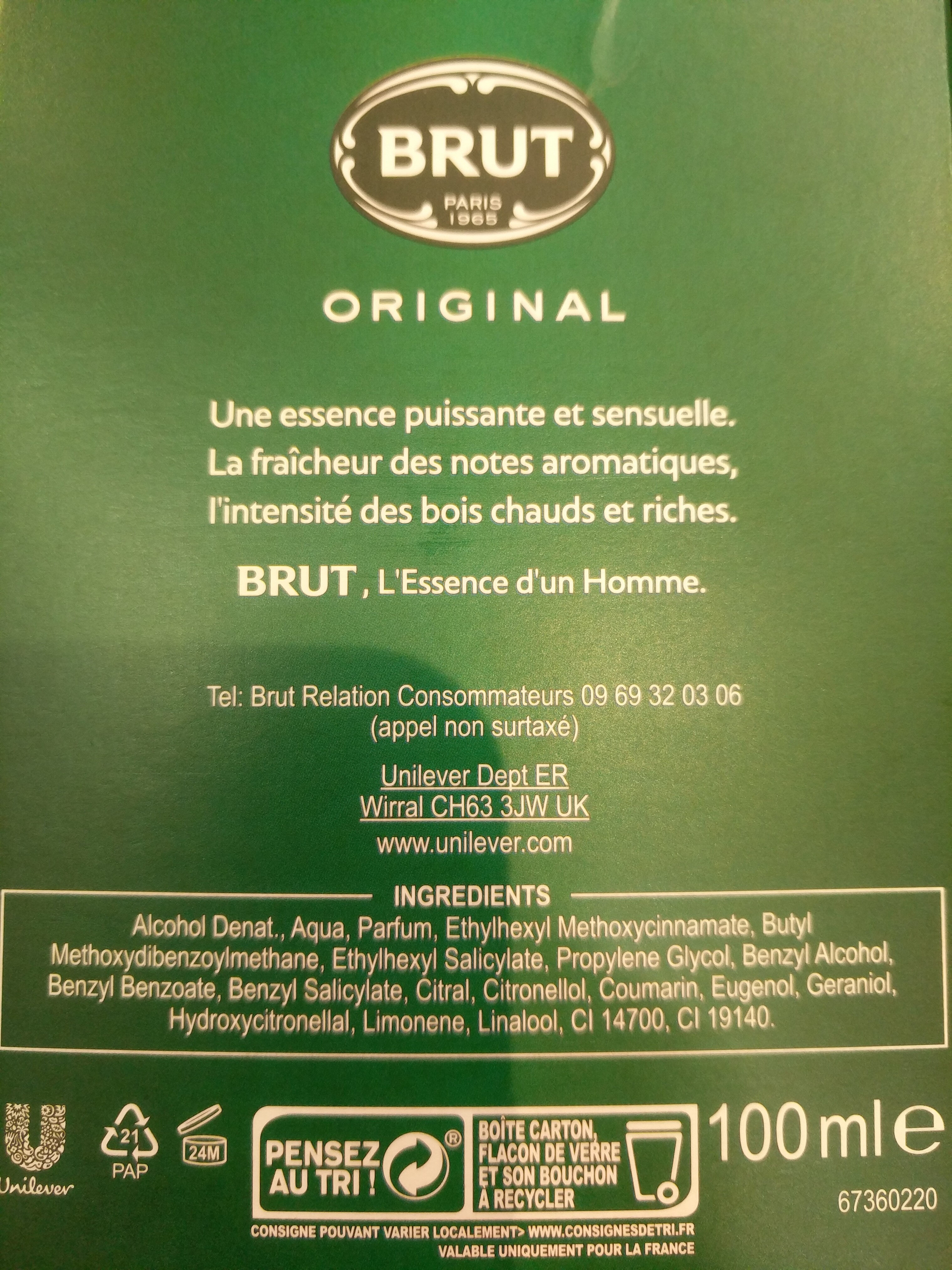 Brut Eau De Toilette Original - Ingredients - fr