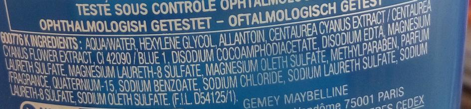 Cils Demasq - Lotion fraîcheur démaquillant douceur pour les yeux - Ingredients - fr