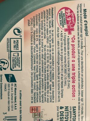 SANYTOL Le désinfectant multi usages - Ingredients - fr