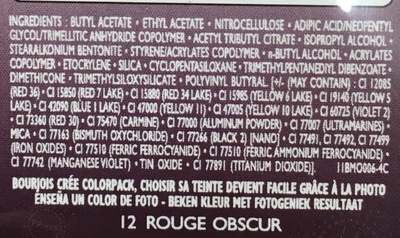 Vernis à ongles 1 seconde n°12 Rouge Obscur - Ingredients