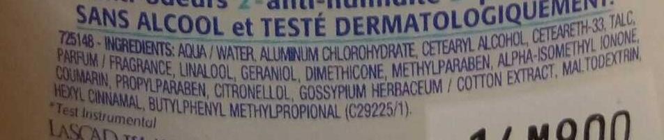 Anti-transpirant Triple Efficacité Fraîcheur poudrée - Ingredients