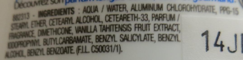 Anti-transpirant 48h, sans alcool, Vanille de Polynésie - Ingredients