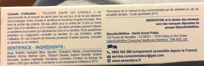Dentifrice cure sensibilité, Soulage et protège les dents sensibles - Ingrédients