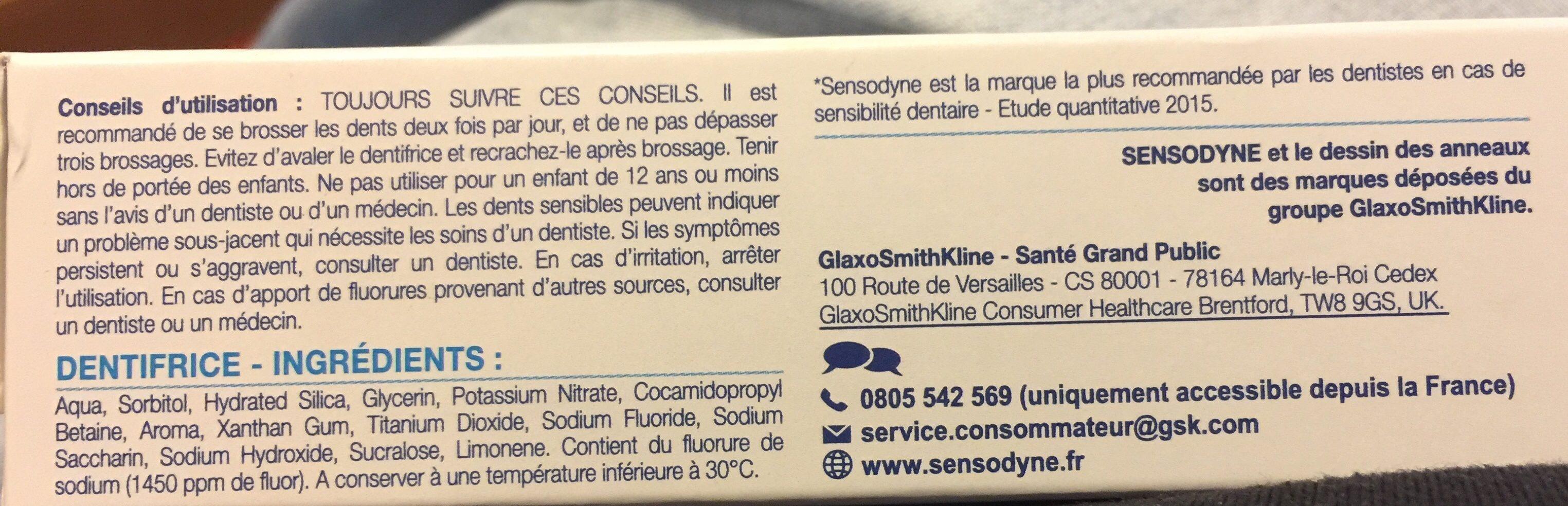 Dentifrice cure sensibilité, Soulage et protège les dents sensibles - Ingredients - fr