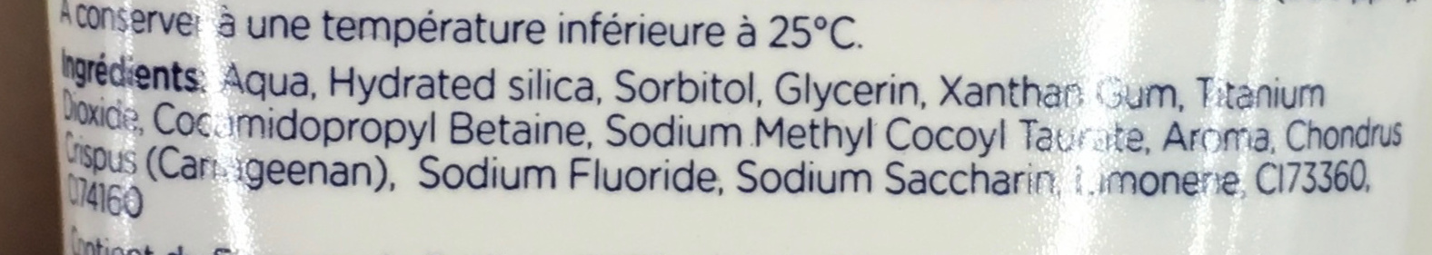 Dentifrice Junior goût fruité - Ingredients - fr