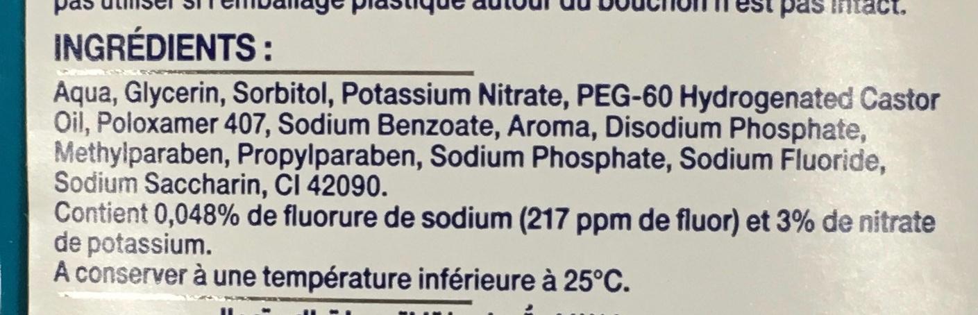 Bain de bouche protection longue durée menthe fraîche - Ingredients - fr