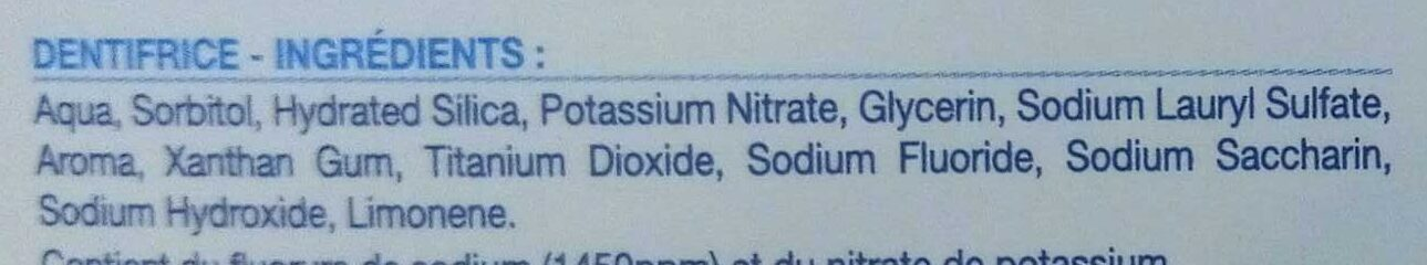Dentifrice désensibilisant - Ingredients - fr