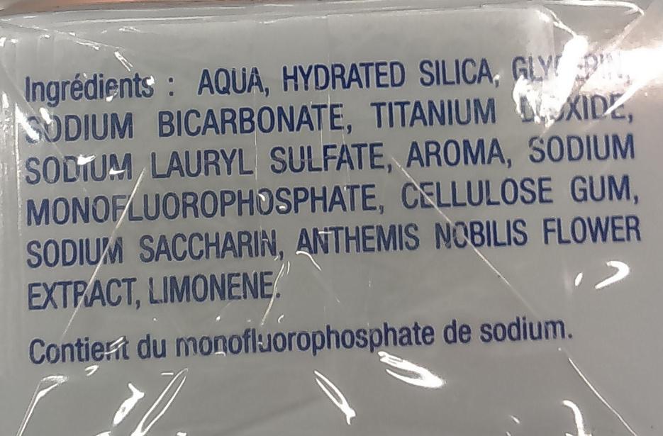Dentifrice arôme menthe - formule bicarbonate et fluor - Ingredients