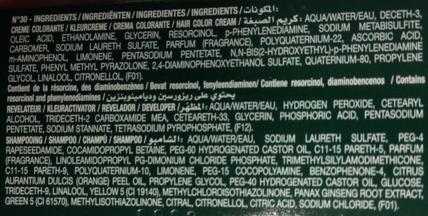 Gel crème colorant n°30 châtain foncé - Ingredients
