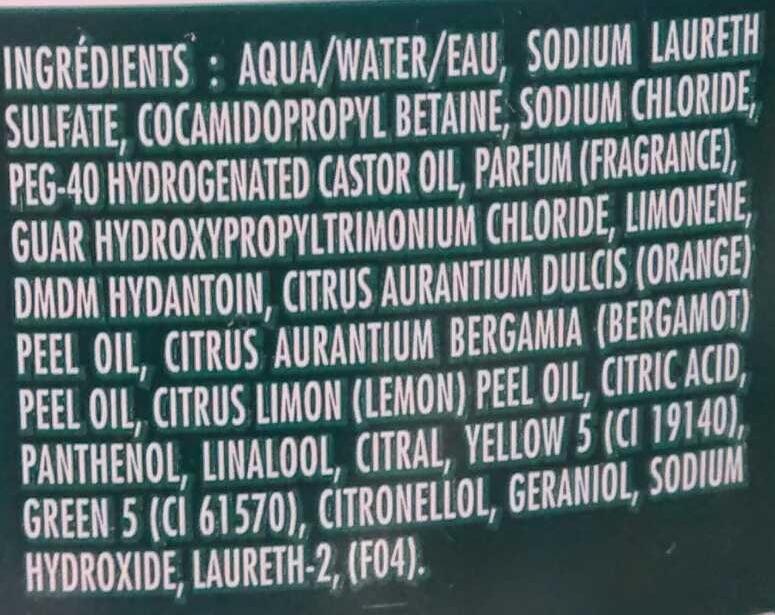 Shampooing force vitalité Huiles essentielles de citrus - Ingrédients