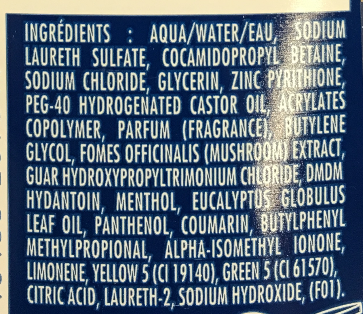 Shampooing Stop Pellicules + anti-démangeaisons - Ingrédients