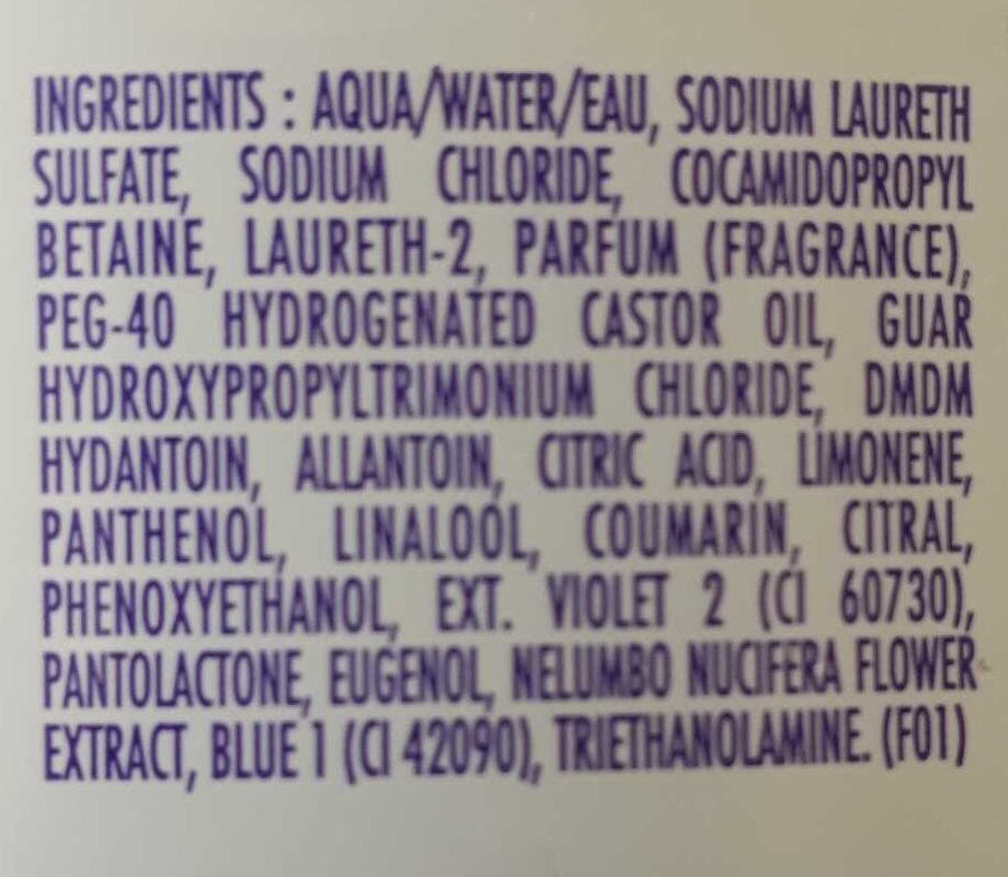 Shampooing doux - Ingredients