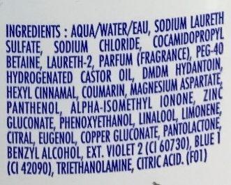 Shampooing doux pureté - Ingredients