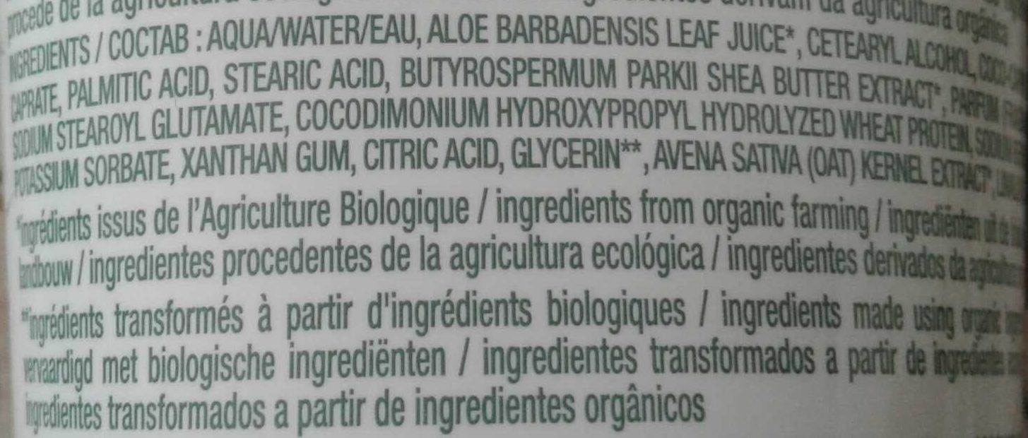 Masque Avoine cheveux secs - Ingredients - fr
