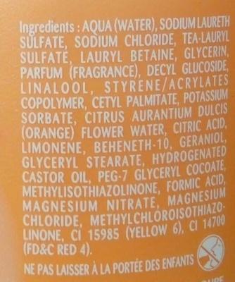La Fleur d'Oranger Douche Lait Sensuelle - Ingredients - fr