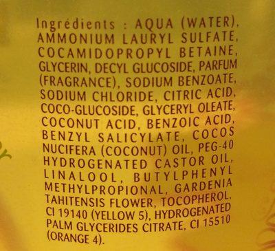 Douche huile précieuse Extra Nourrissante, au Monoï, Peaux sèches et sensibles - Ingredients